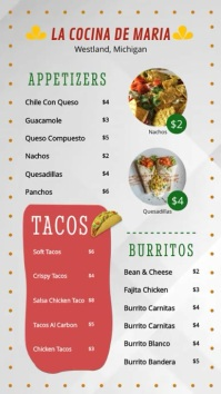 Modern Taco Restaurant Cinco de Mayo Menu Display template