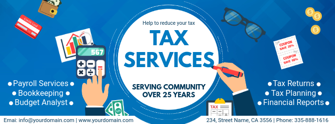Modern Tax Services Ad Custom Template Facebook-coverfoto