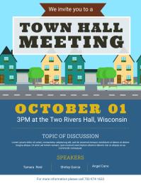 Modern Town Hall Meeting Flyer Template Pamflet (Letter AS)