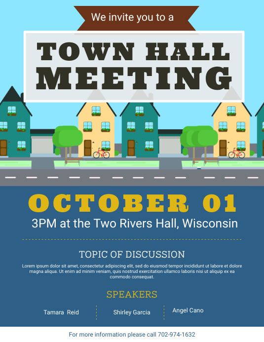 modern town hall meeting flyer template postermywall