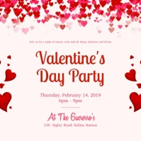 Modern Valentine's Day Party Invitation 方形(1:1) template
