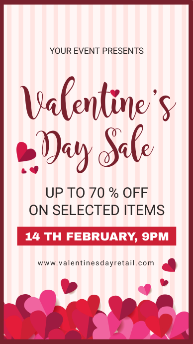 Modern Valentine's Retail Digital Display Advert Instagram Story template