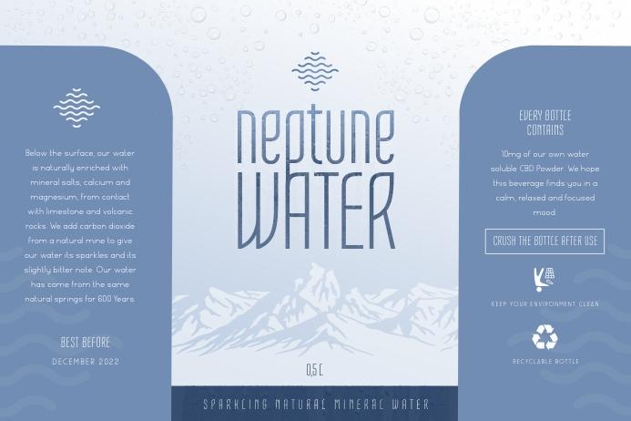 Modern Water Bottle Label Rótulo template