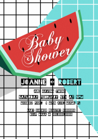 Modern Watermelon Hipster Baby Shower Invite A4 template