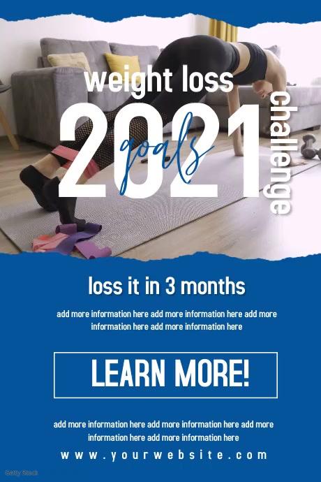 Modern Weight loss challenge flyer video Poster template