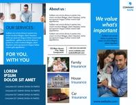 modern white and blu insurance trifold advert Iflaya (Incwadi ye-US) template