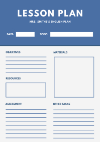 Modern White Custom Lesson Plan A4 template