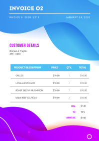 Modern White Sales Invoice Template