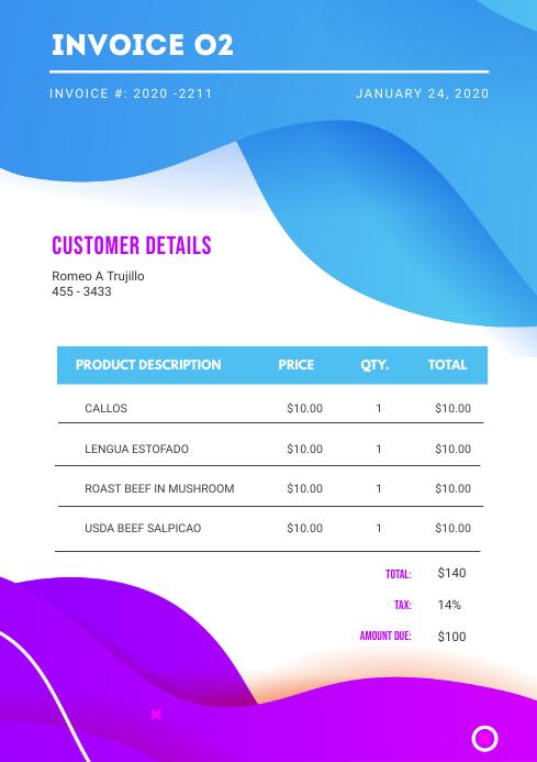 Modern White Sales Invoice Template