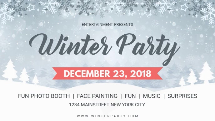 Modern Winter Party Facebook Cover Video template