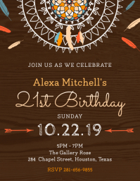 Modern Wooden Birthday Party Invitation