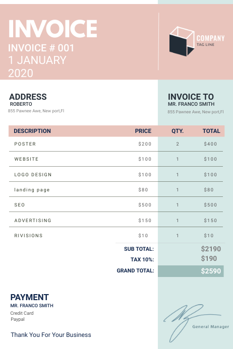 Modern Work Digital Invoice Template