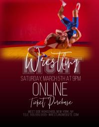 Modern Wrestling Event Flyer Pamflet (Letter AS) template