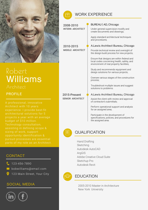 Modern Yellow and Grey Resume