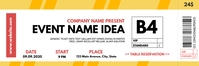 modern yellow orange and white event ticket t Bannier 2' × 6' template