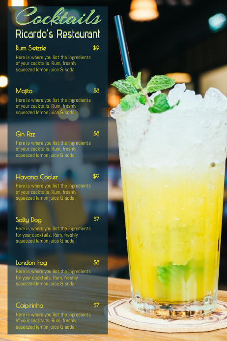 Mojito Cocktail Menu Template