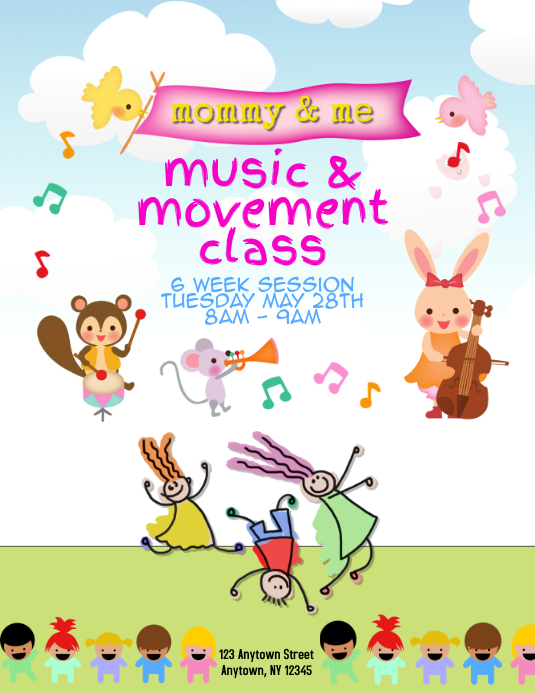 mommy and me music dance event flyer Template