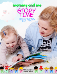 mommy and me storytime event flyer Template