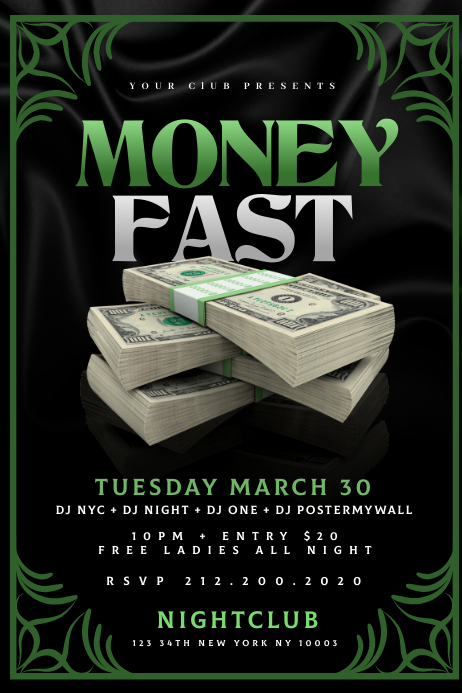 MONEY FAST Flyer Template Banier 4'×6'