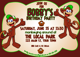 Monkey Around Birthday Invitation