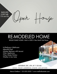 Monochrome Open House Upscale Home Flyer Vide Volante (Carta US) template