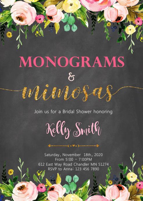 Monogram and Mimosa shower invitation