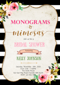 Monogram and Mimosa shower invitation A6 template