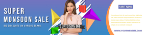 Monsoon Sale Retail Banner Design Template แบนเนอร์ 2' × 8'