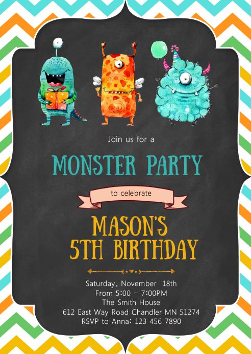 Nieuw Sjabloon Monster Verjaardagsfeestje Uitnodiging | PosterMyWall EZ-63