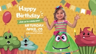 Monster Cupcake Birthday Facebook Cover Video (16:9) template