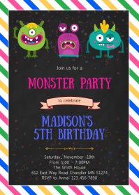 Monster girl party invitation