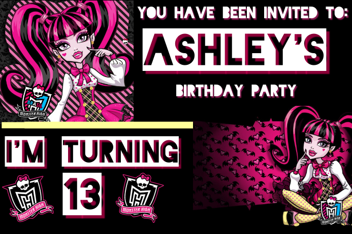Monster high birthday invitation template postermywall monster high birthday invitation customize template filmwisefo