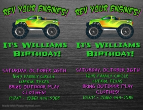 Monster Jam Birthday Invitation