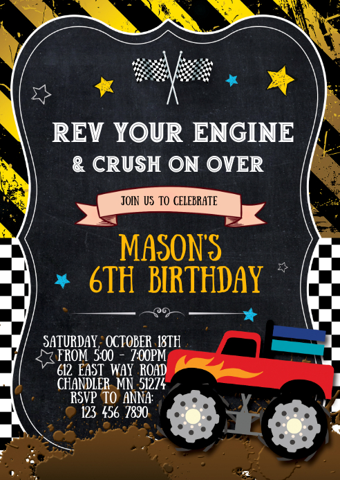 This is a picture of Monster Truck Birthday Invitations Free Printable for 6th birthday
