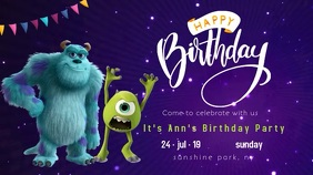 monsters inc birthday party invitation video Tampilan Digital (16:9) template