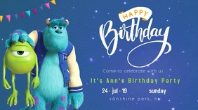 monsters university birthday party post Tampilan Digital (16:9) template