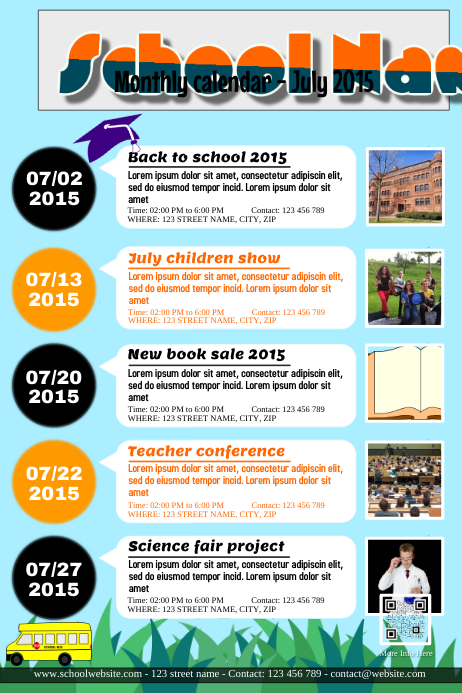 calendar of events templates