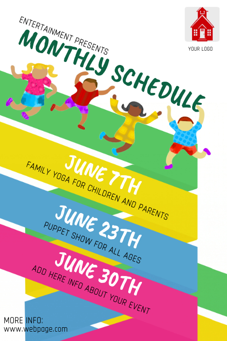 monthly event schedule for kids flyer template postermywall