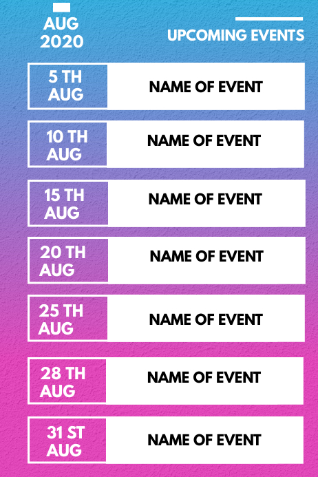 MONTHLY EVENTS Poster template