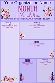 Monthly Newsletter Purple Floral
