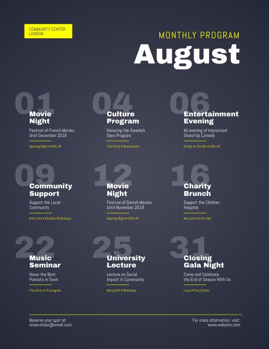 Monthly Program Events Calendar Flyer