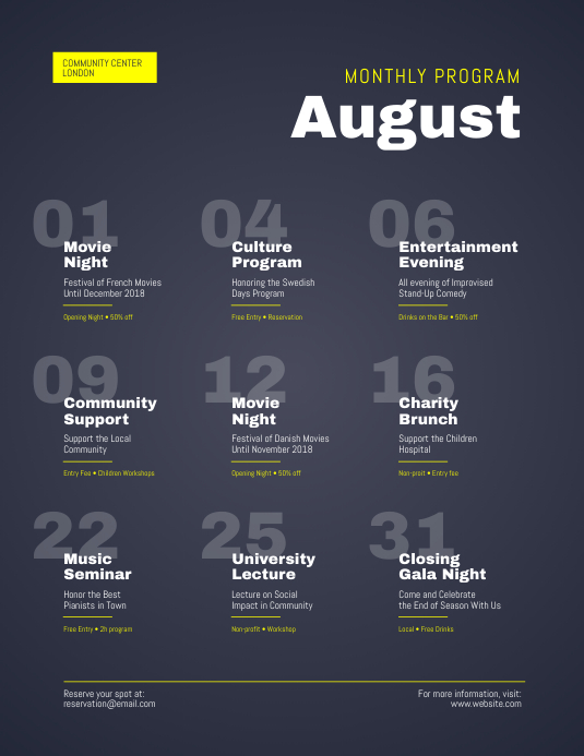 monthly program events calendar flyer template