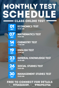 Monthly Test Schedule Poster Template