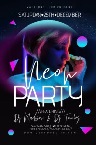 Moon Geometrical Neon Night Club 3D Poster Fl Plakat template