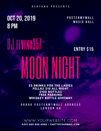 Moon Night Purple Music Flyer Template