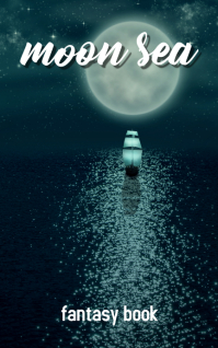 moon sea night sailing vessel sky light lake Обложка Kindle template