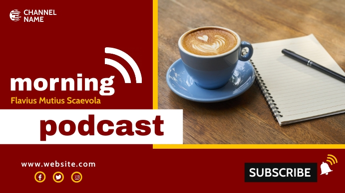 morning podcast youtube thumbnail design temp YouTube-miniature template