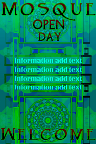 mosque open day in blue green