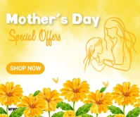 Mother's day, event, greeting,retail Retângulo grande template