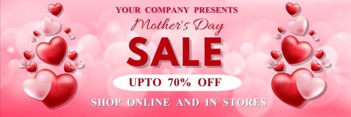 Mother's day, event, greeting,retail Banner 2 x 6 template